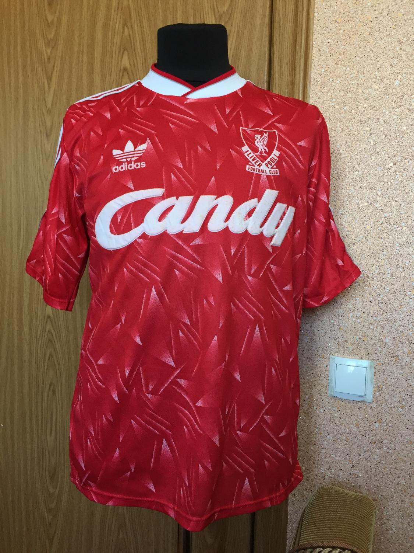 Liverpool Home maglia di calcio 1989 - 1990. Sponsored by Candy