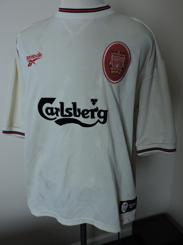 Liverpool Away football shirt 1996 - 1997. Sponsored by Carlsberg