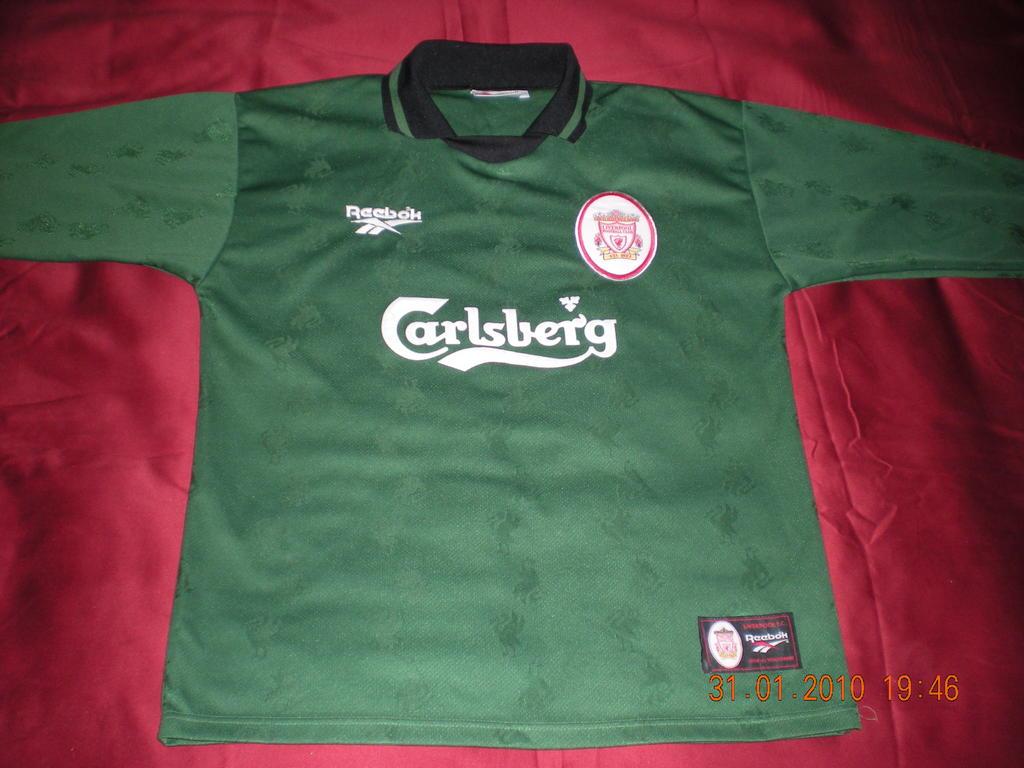 635baabab Liverpool Goalkeeper football shirt 1996 - 1998. Sponsored by Carlsberg