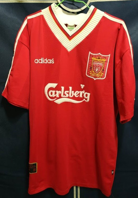 best sneakers 65cf9 71c8e Liverpool Home football shirt 1995 - 1996. Sponsored by ...