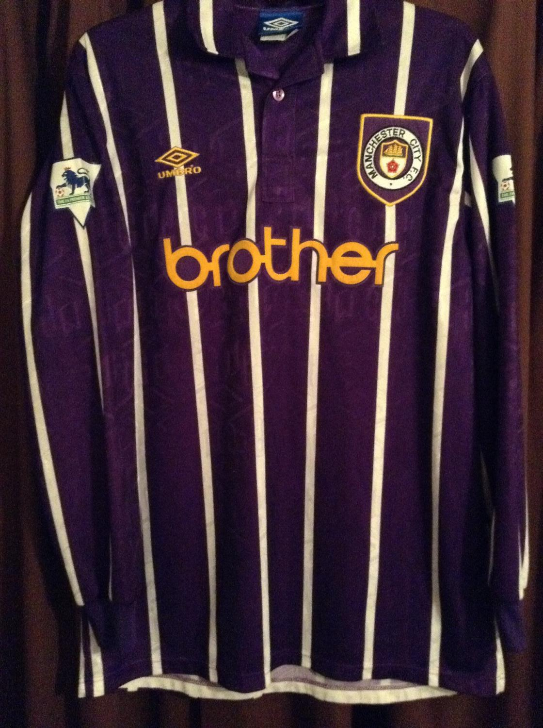 Manchester City Away football shirt 1992 - 1994. Sponsored by Brother