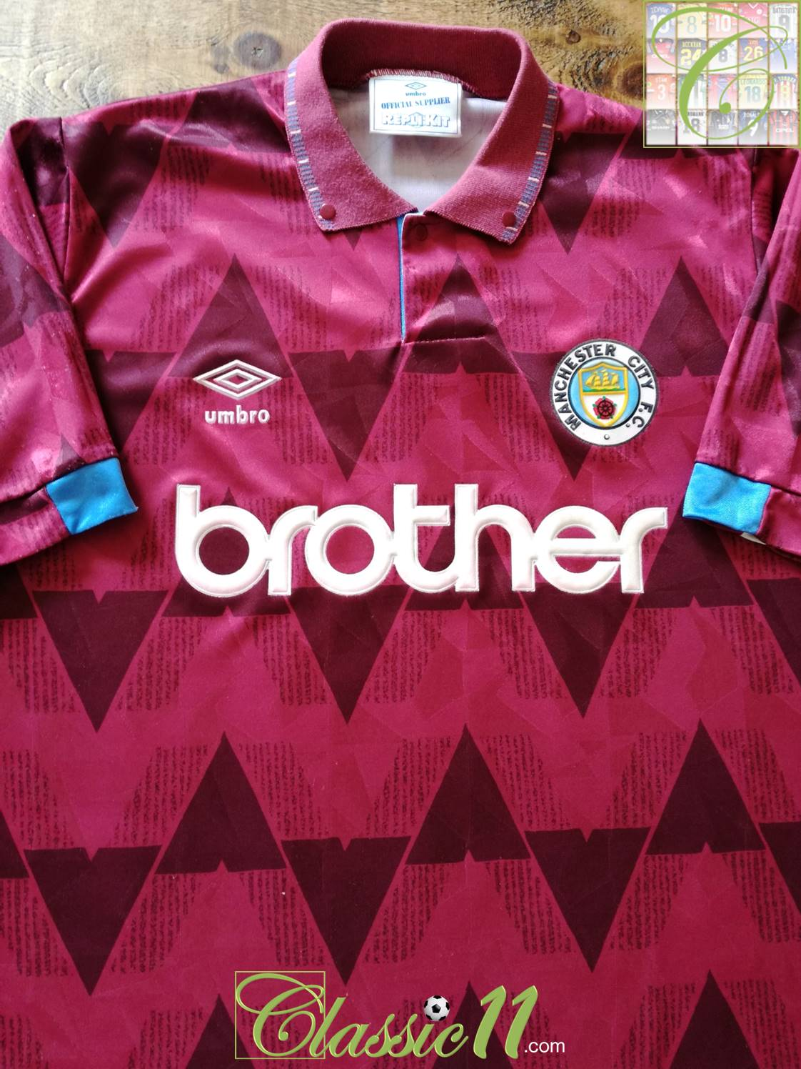 Manchester City Away football shirt 1990 - 1992. Sponsored by Brother