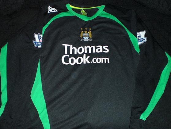 1e53caf7c59 Manchester City Goalkeeper camisa de futebol 2008 - 2009. Sponsored ...