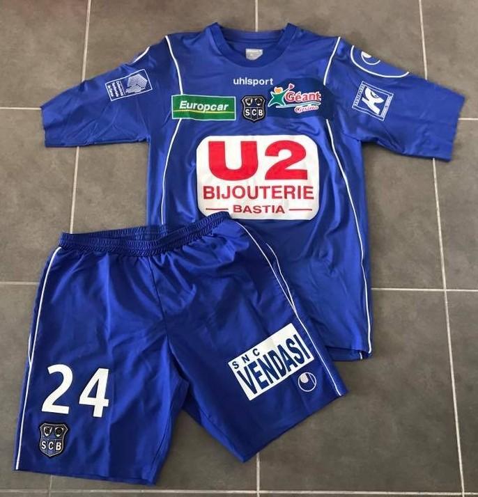 SC Bastia Home football shirt 2007 - 2008  Sponsored by U2