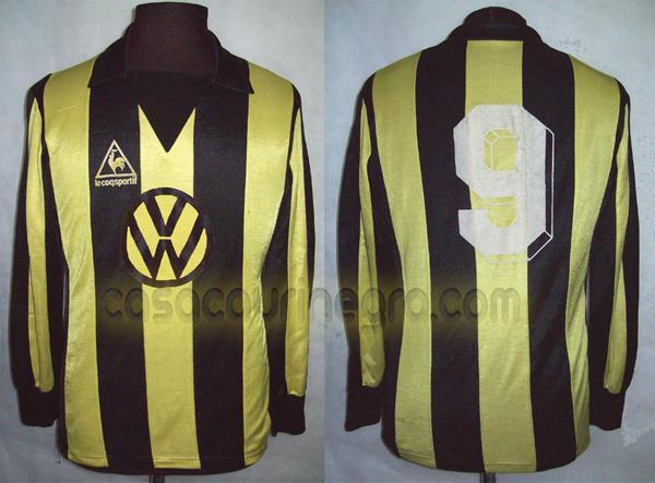 desigual en el rendimiento tecnicas modernas vista previa de Penarol Home camisa de futebol 1986 - 1987.