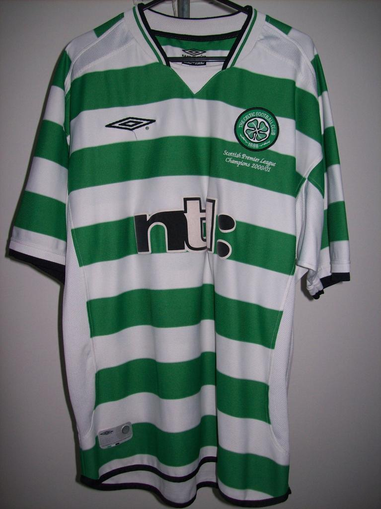 Celtic Home football shirt 2001 - 2003. Sponsored by NTL
