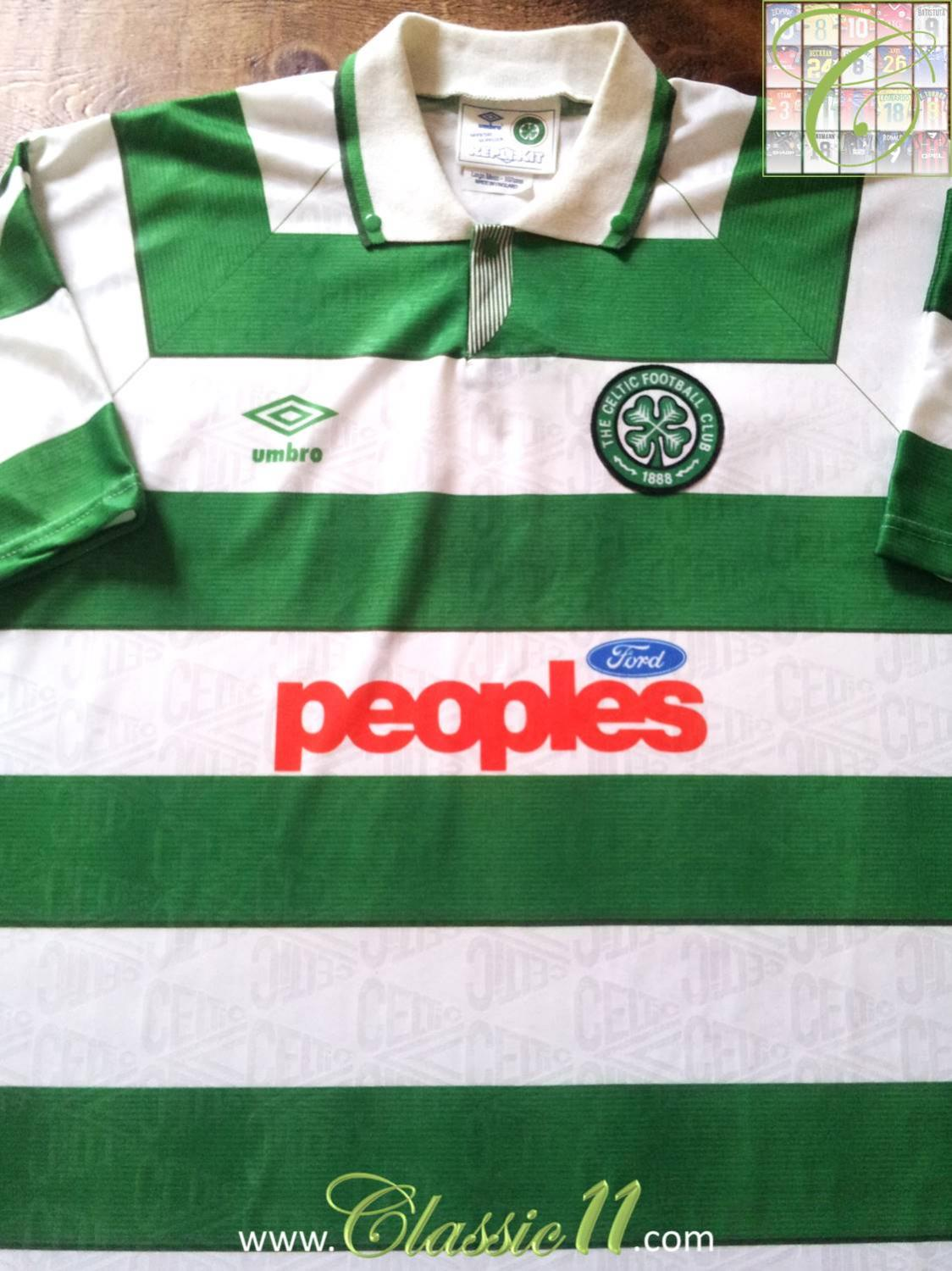 a7b1f8c49 Celtic Home Maillot de foot 1991 - 1992. Sponsored by Peoples Ford