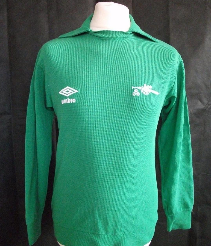 28be10439 Arsenal Goalkeeper maglia di calcio 1978 - 1981. Sponsored by no sponsor