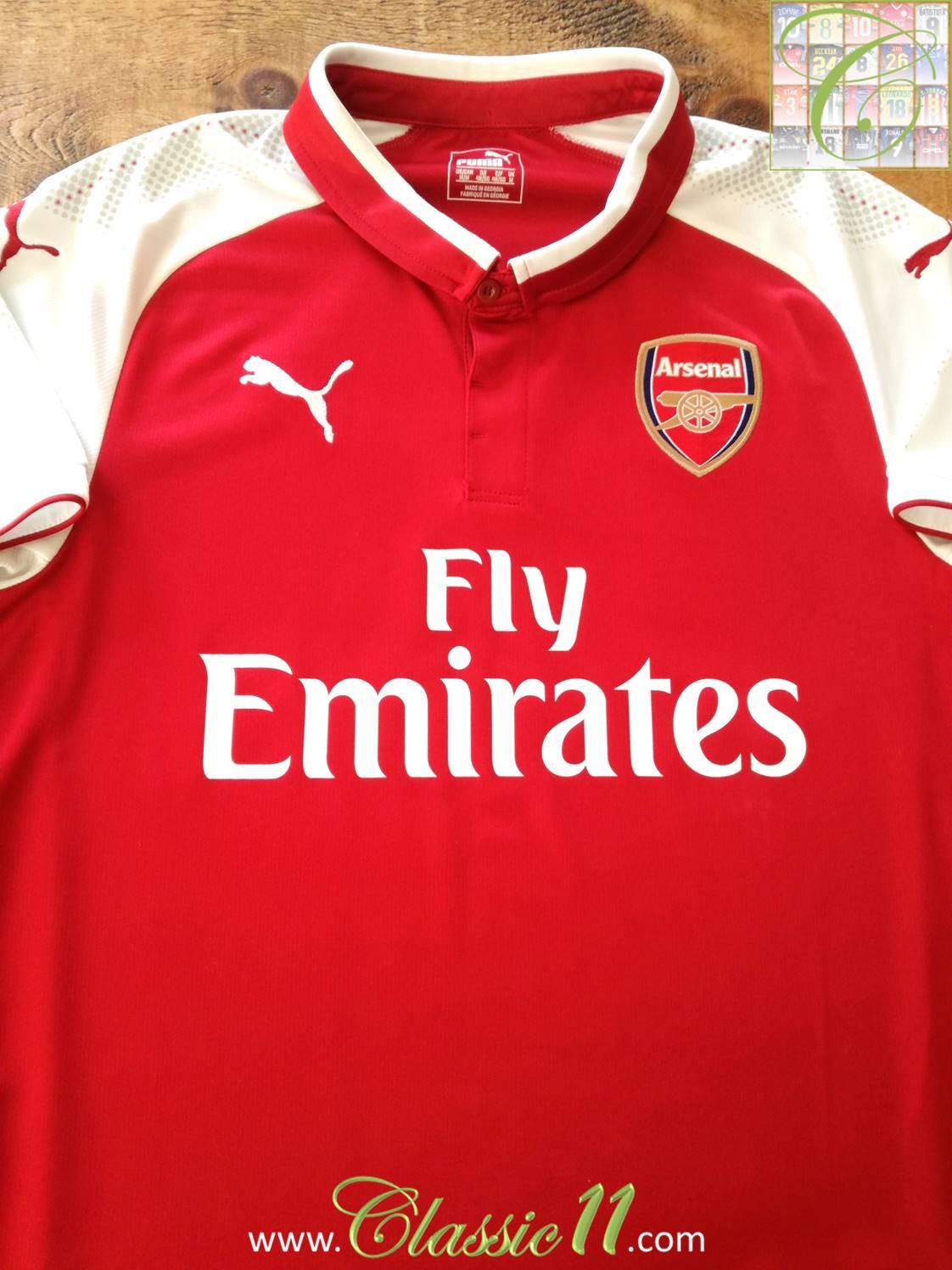 a1780b69a64 Arsenal Home maglia di calcio 2017 - 2018. Sponsored by Emirates