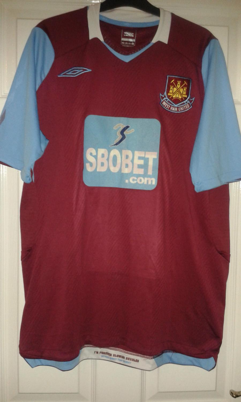premium selection f620e 81e3b West Ham United Home football shirt 2008 - 2009. Sponsored ...