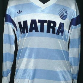 Racing Levallois 92 Home football shirt 1987 - 1988 sponsored by Matra