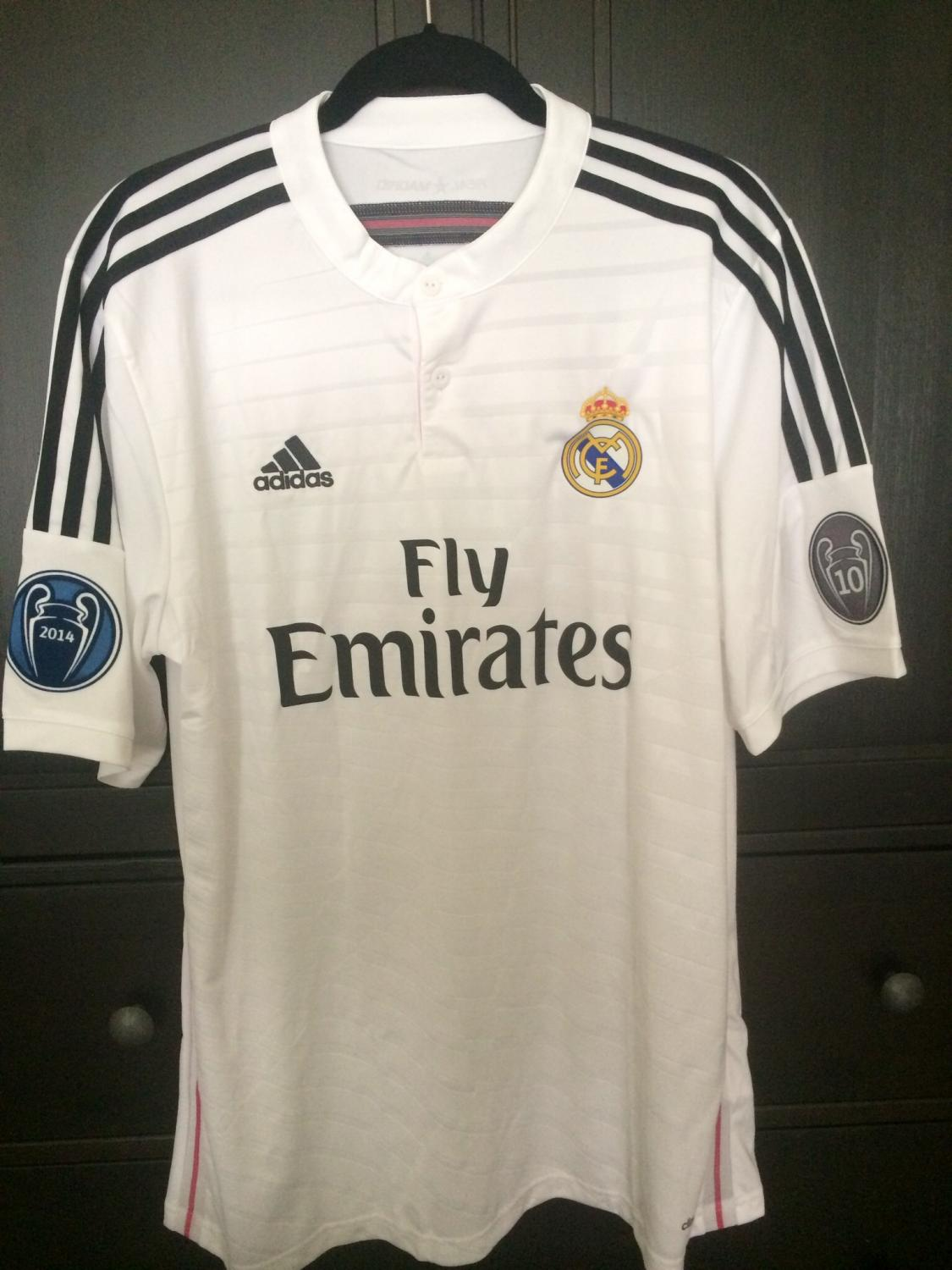 Real Madrid Home football shirt 2014 - 2015. Sponsored by Emirates