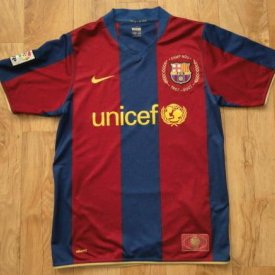 Barcelona Home football shirt 2007 - 2008 sponsored by Unicef