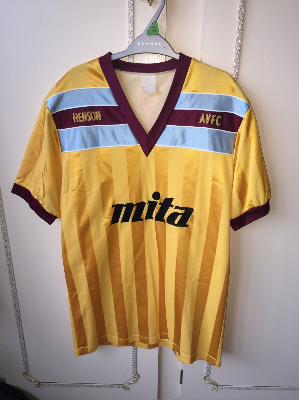 Aston Villa Away Football Shirt 1985 1987 Sponsored By Mita