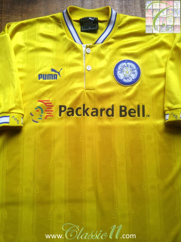 Leeds United Away football shirt 1996 - 1998. Sponsored by Packard ...