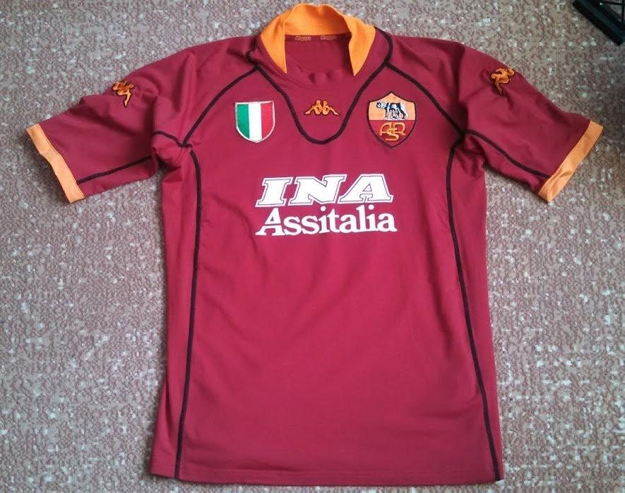Roma Home maglia di calcio 2001 - 2002. Sponsored by INA Assitalia