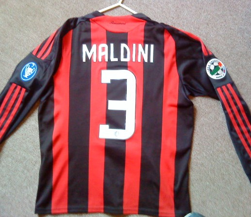 AC Milan Home football shirt 2008 - 2009. Sponsored by Bwin