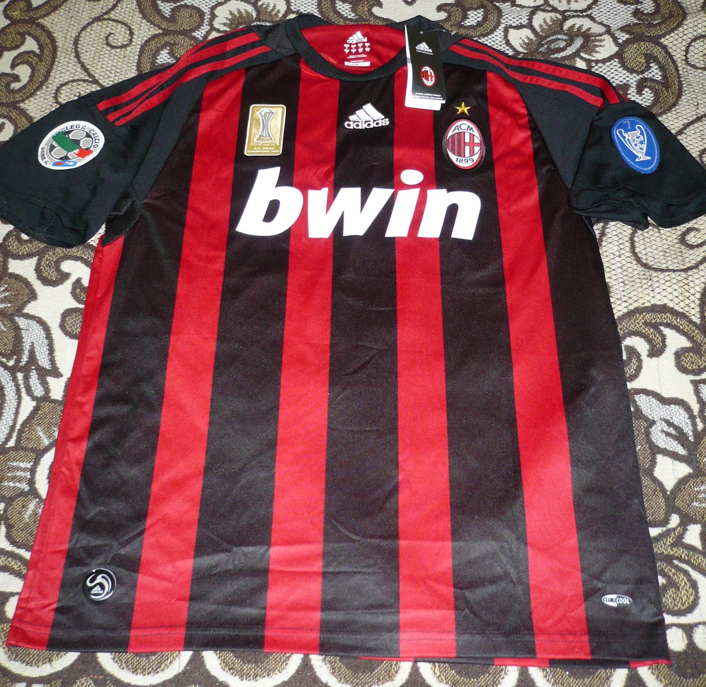 AC Milan Home maglia di calcio 2008 - 2009. Sponsored by Bwin