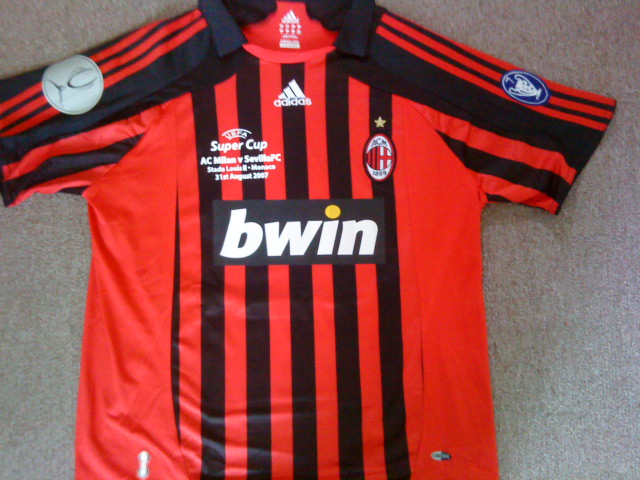 AC Milan Home Maillot de foot 2007 - 2008. Sponsored by Bwin