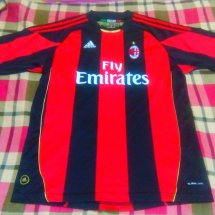 AC Milan Home football shirt 2010 - 2011 sponsored by Emirates