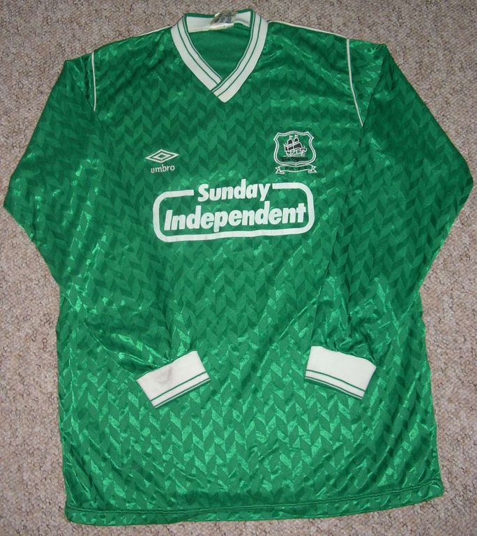Plymouth Argyle Home Football Shirt 1987 1990 Added On