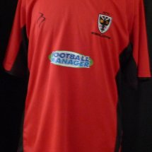 AFC Wimbledon Home baju bolasepak 2011 - 2012 sponsored by Football Manager