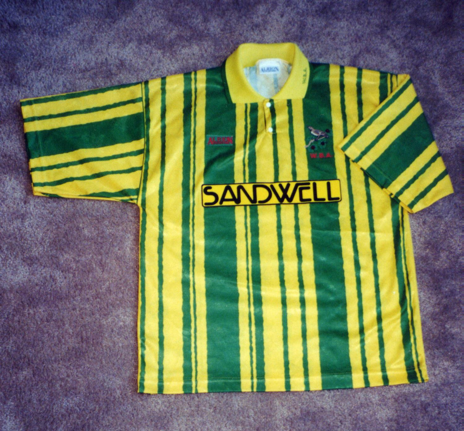 West Bromwich Albion Third Football Shirt 1992 1993 Sponsored By Sandwell