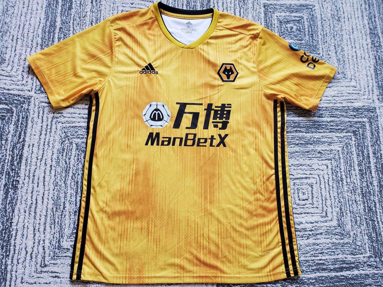 adidas 2019-2020 Wolves Home Football Soccer T-Shirt Camiseta