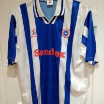 Brighton & Hove Albion Home φανέλα ποδόσφαιρου 1997 - 1998 sponsored by Sandtex
