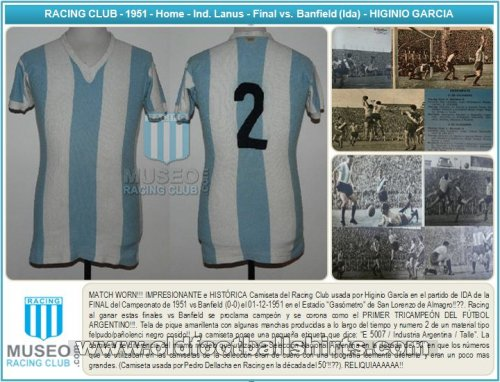 Racing Club Domicile Maillot de foot 1951