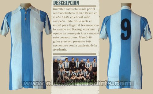 Racing Club Home Fußball-Trikots 1949