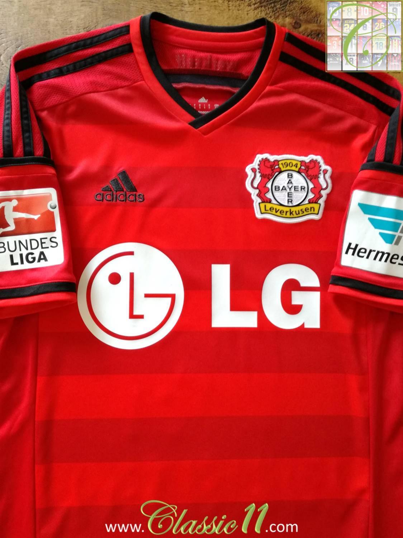 Bayer 04 Leverkusen Home football shirt 2014 - 2015. Sponsored by LG