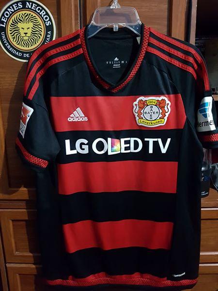 Bayer 04 Leverkusen Home football shirt 2015 - 2016. Sponsored by LG
