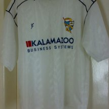 Port Vale Home Fußball-Trikots 1990 - 1991 sponsored by Kalamazoo Business Systems