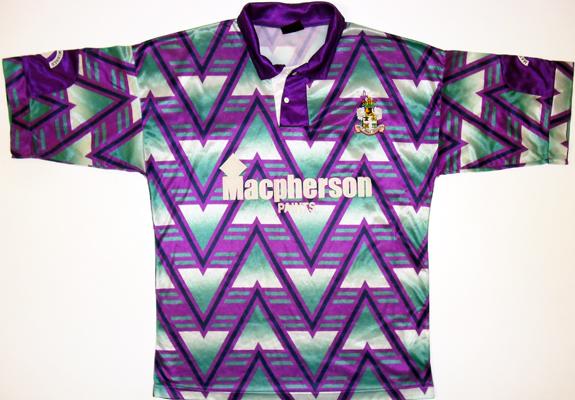 Bury FC Away camisa de futebol 1992 - 1993  Sponsored by