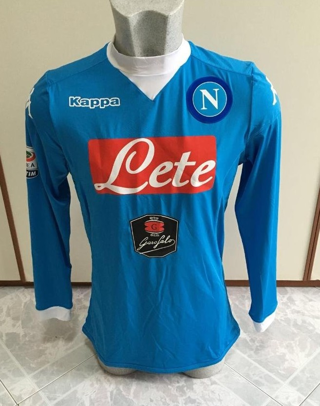 2015 Men's Kappa SSC Napoli Player Issue Long Sleeve Training Socc Jersey XL